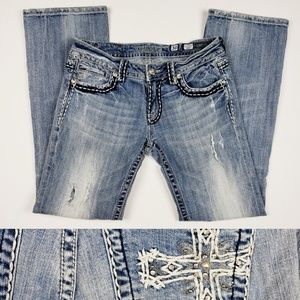 MISS ME   Light Wash Embellished Bootcut Jeans 30